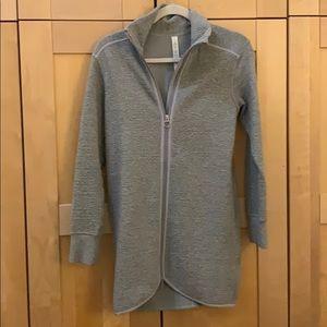 Lulu Lemon size 2 gray long zip up sweater